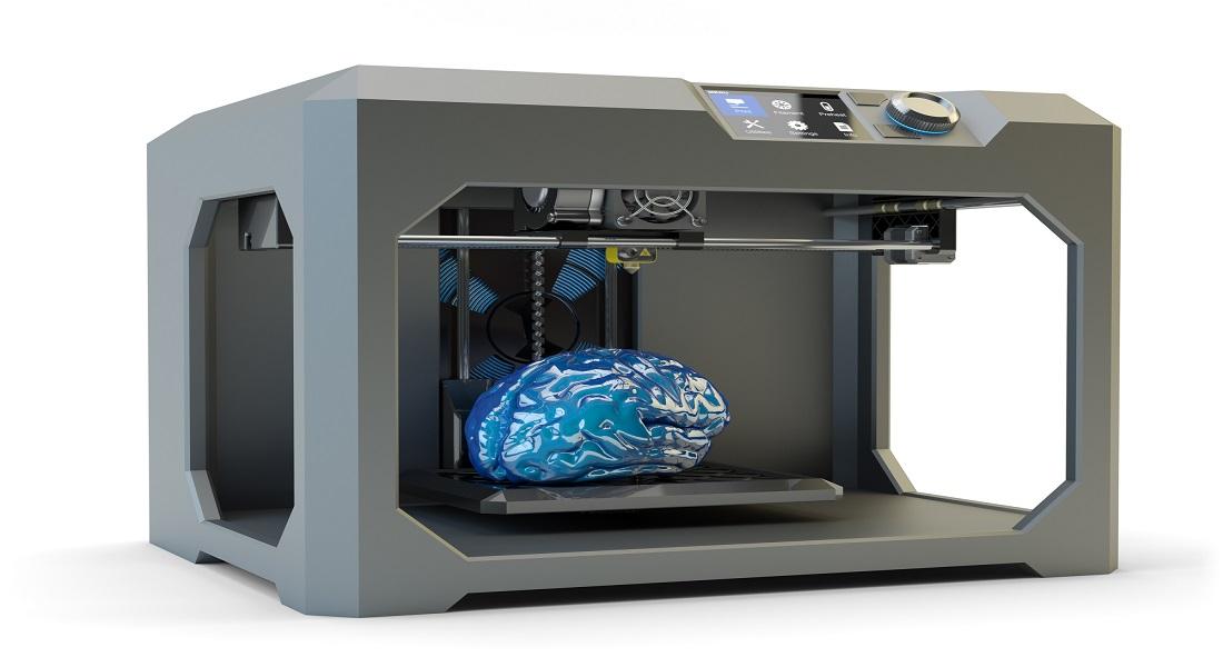 Foto af 3D-printet hjerne