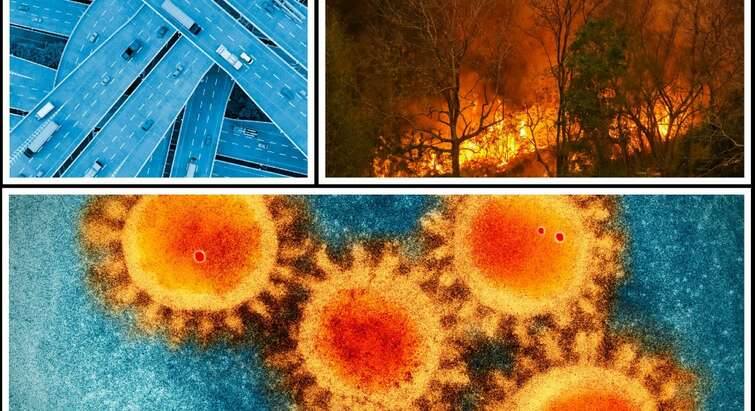 Photos of a burning forest, infrastructure and corona virus