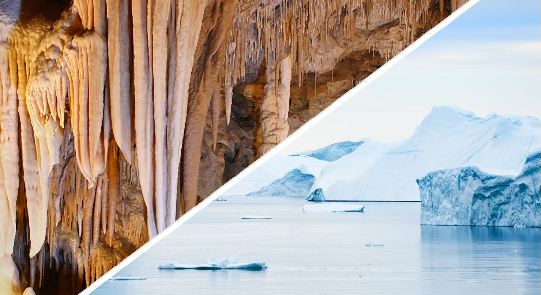 Photo collage of  stalactite caves and ice Greenland
