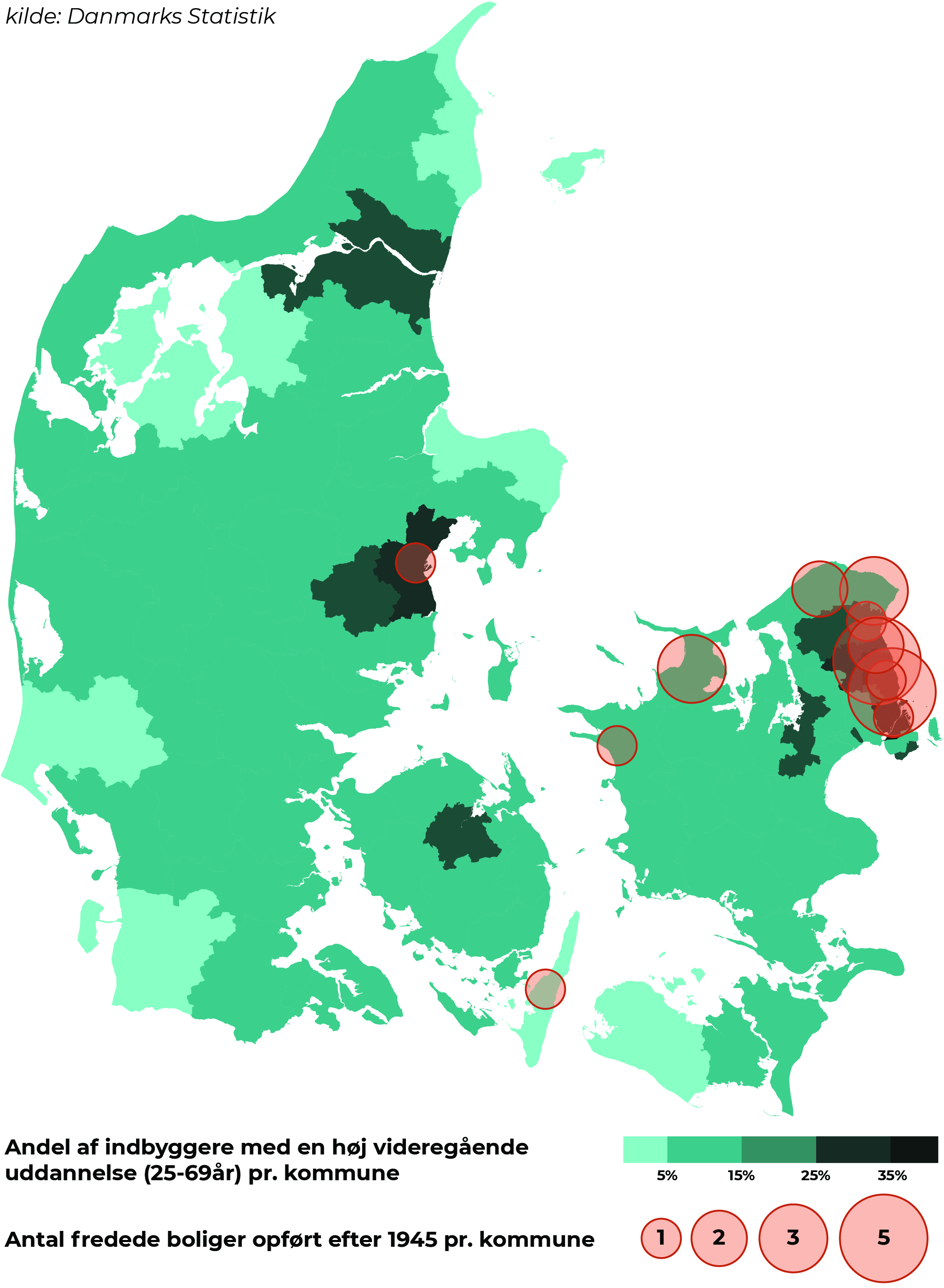 Map showing protected houses after 1945 made by Danmarks Statistik