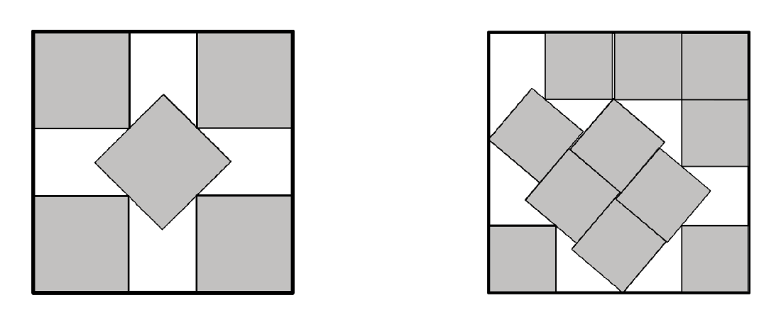 Left: Optimal packing of five squares. Right: The currently best known packing of eleven unit squares into a larger square.