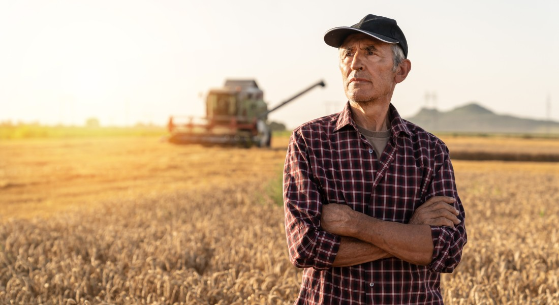Photo of a famer looking over his crops while thinking
