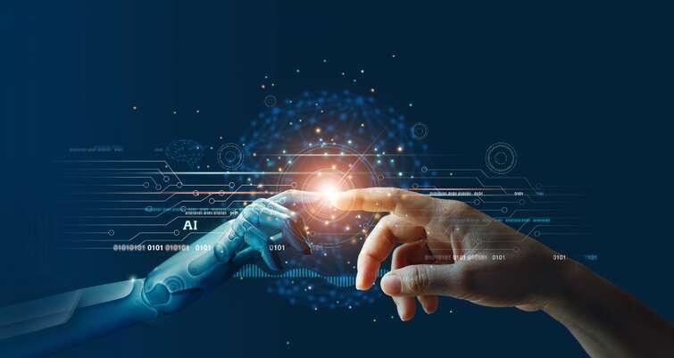 AI hand and human hand