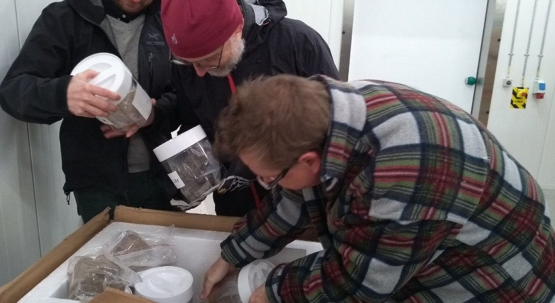 Photo of some of the scientists finding the forgotten ice during a move. Photo: Dorthe Dahl-Jensen.
