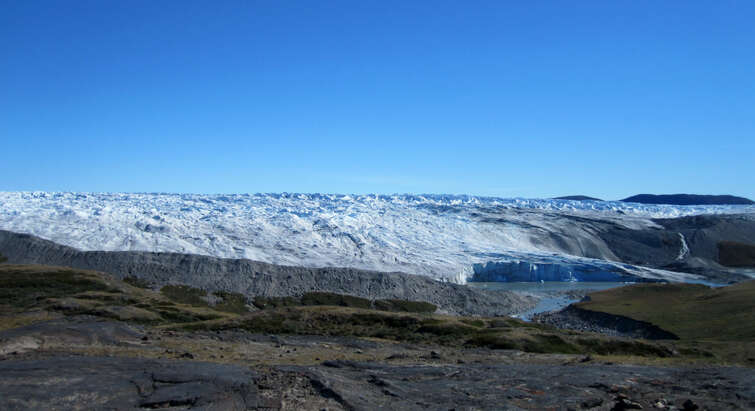 Meltwater lake at the rim of the ice cap on the northern edge of the Russell Glacier at Kangerlussuaq, West Greenland. Photo: Christine Schøtt Hvidberg.